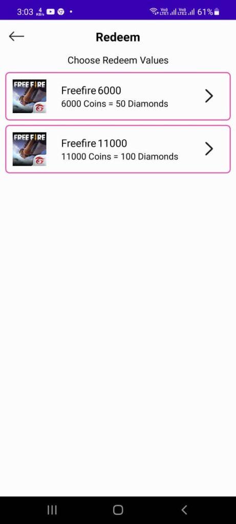 Freefire diamonds giving app with rewards